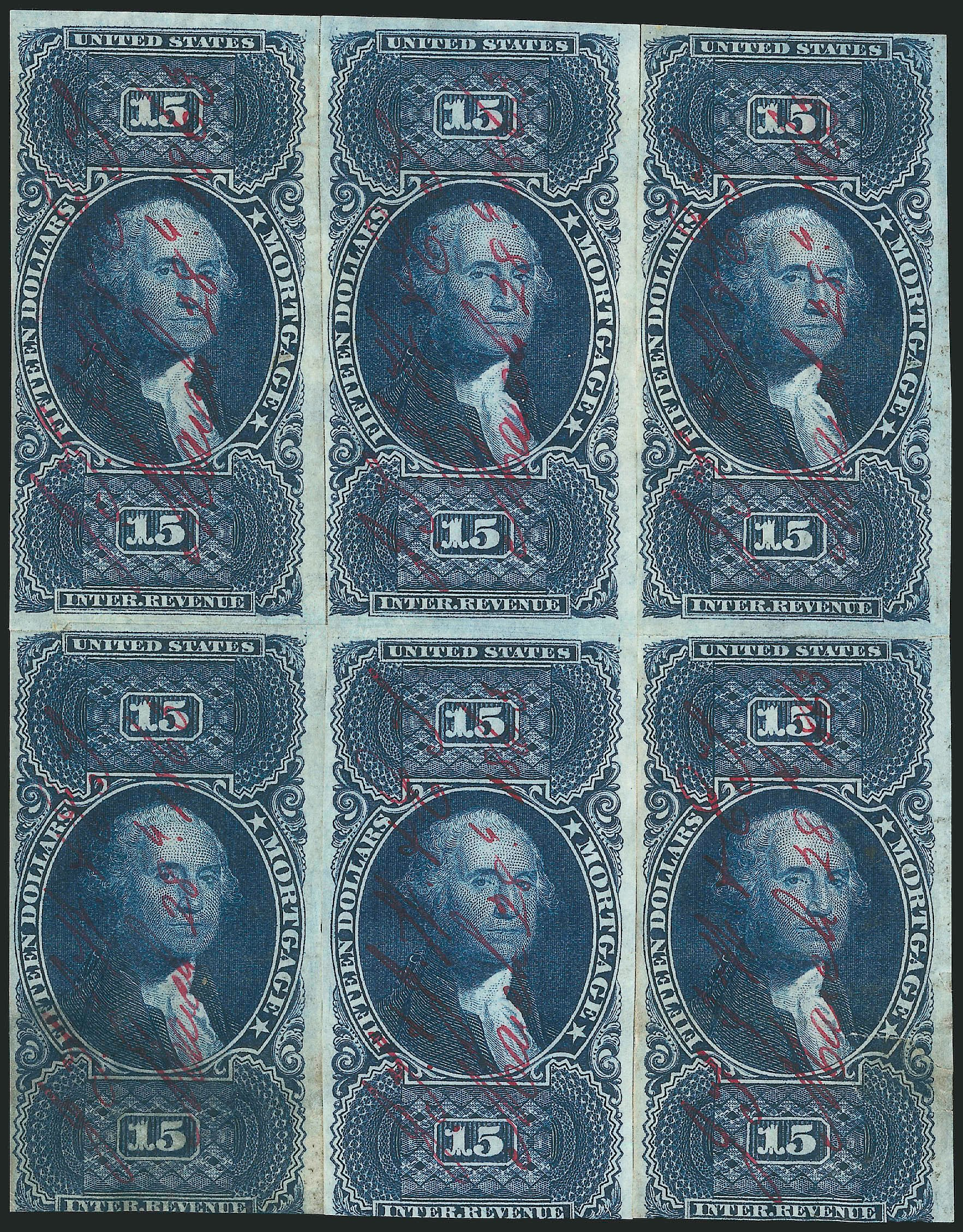US Stamp Value Scott Catalogue # R97 - US$15.00 1862 Revenue Mortgage. Robert Siegel Auction Galleries, Jun 2015, Sale 1100, Lot 163