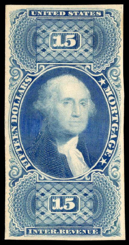 Costs of US Stamps Scott Catalogue # R97: 1862 US$15.00 Revenue Mortgage. Daniel Kelleher Auctions, May 2015, Sale 665, Lot 146