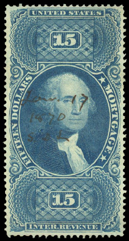 Values of US Stamp Scott # R97: US$15.00 1862 Revenue Mortgage. Daniel Kelleher Auctions, Aug 2015, Sale 672, Lot 3076