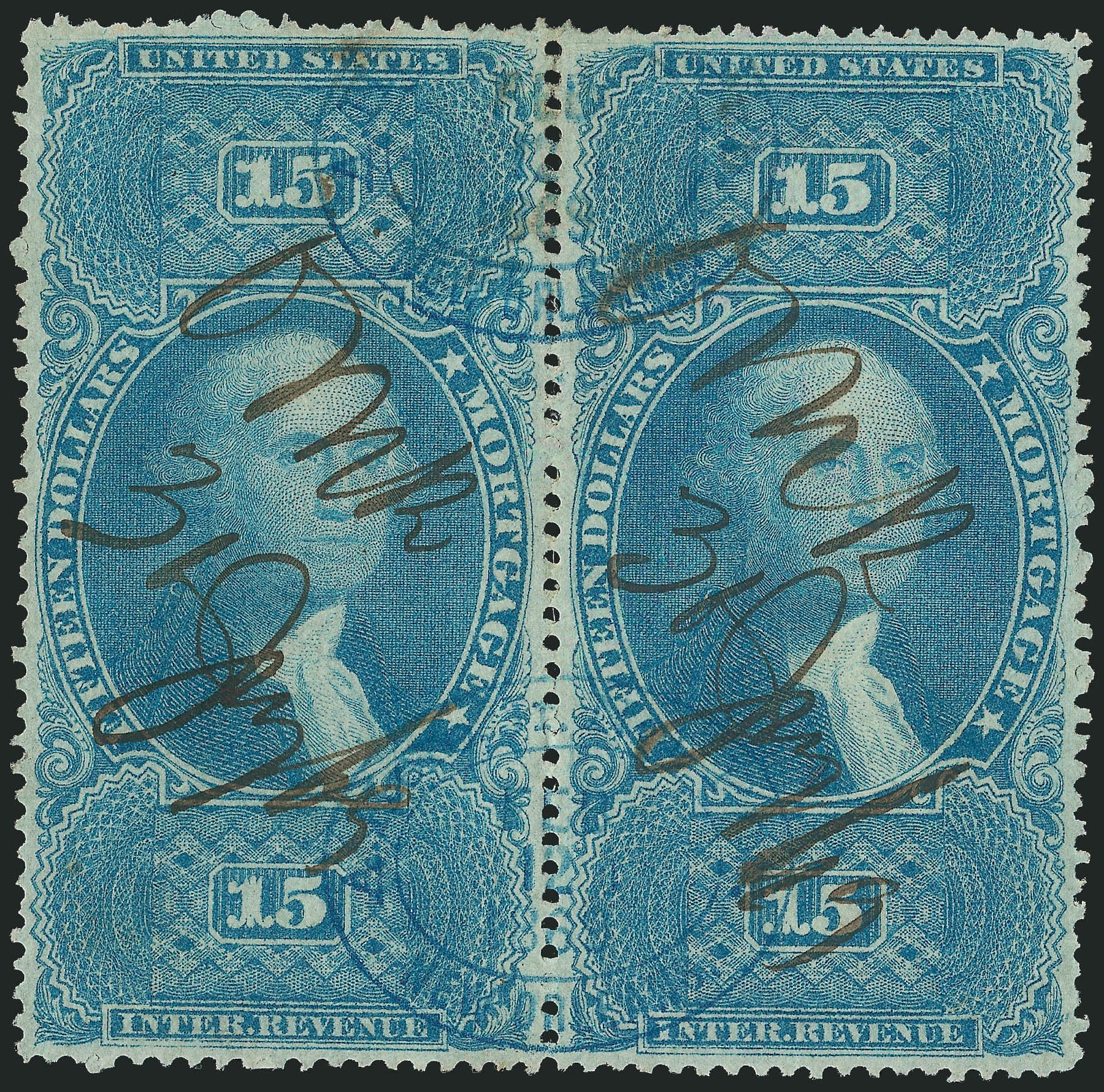 Values of US Stamps Scott Catalogue #R97 - 1862 US$15.00 Revenue Mortgage. Robert Siegel Auction Galleries, Dec 2014, Sale 1089, Lot 446