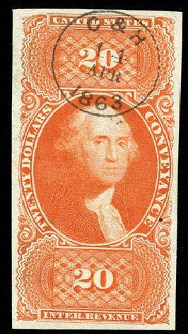 Costs of US Stamp Scott Catalog R98: US$20.00 1862 Revenue Conveyance. Matthew Bennett International, Feb 2012, Sale 340, Lot 627