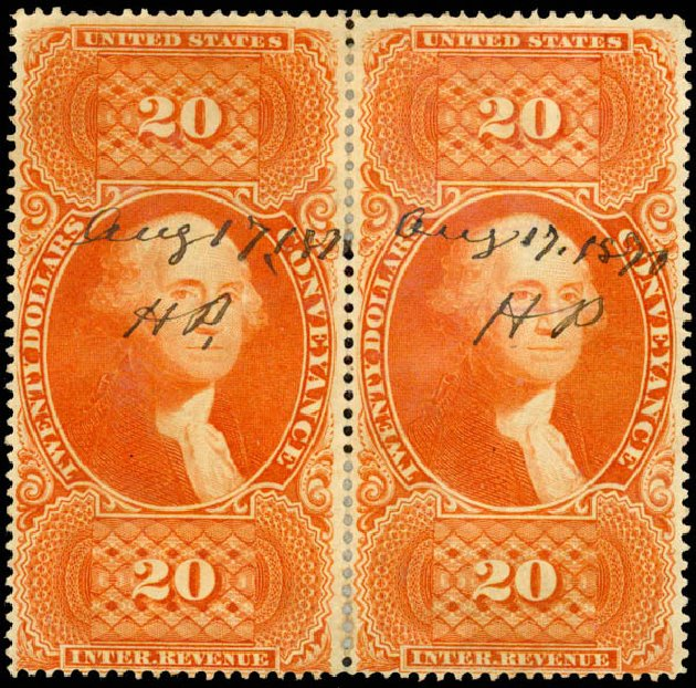 Value of US Stamp Scott Catalogue #R98: US$20.00 1862 Revenue Conveyance. Daniel Kelleher Auctions, May 2015, Sale 665, Lot 149