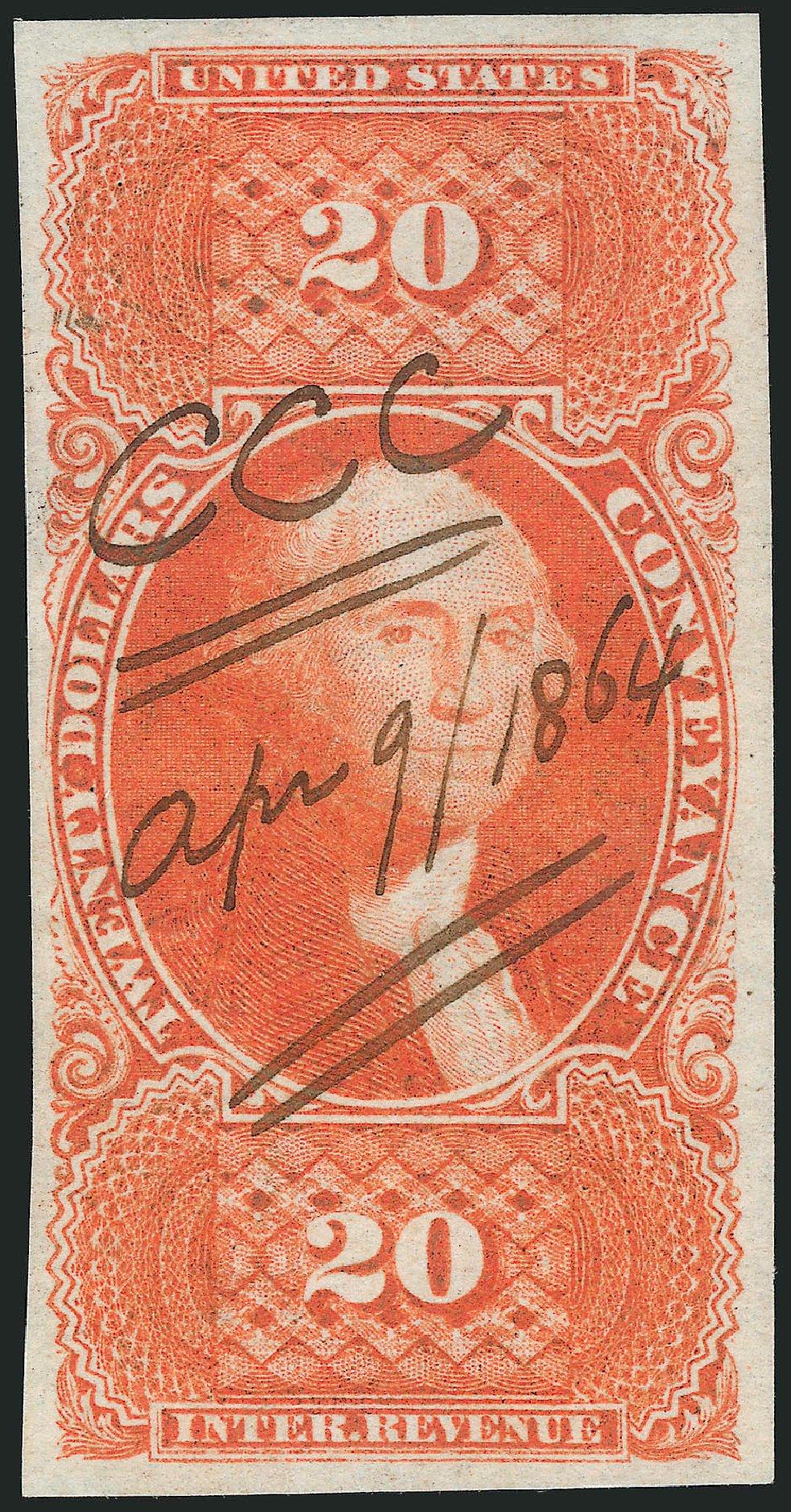 Value of US Stamps Scott Catalog R98 - US$20.00 1862 Revenue Conveyance. Robert Siegel Auction Galleries, Mar 2014, Sale 1066, Lot 39
