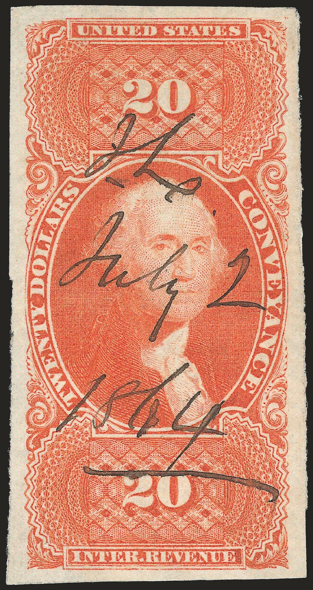 US Stamp Prices Scott # R98 - 1862 US$20.00 Revenue Conveyance. Robert Siegel Auction Galleries, Jun 2009, Sale 975, Lot 2299