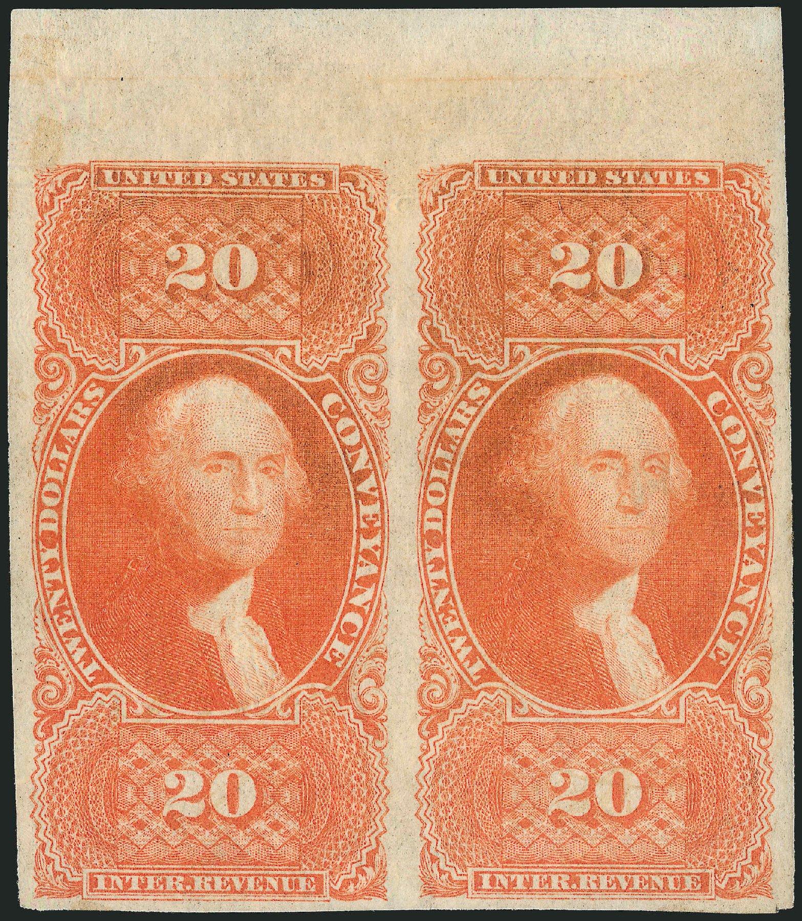US Stamps Values Scott Catalog #R98: 1862 US$20.00 Revenue Conveyance. Robert Siegel Auction Galleries, Dec 2014, Sale 1089, Lot 270
