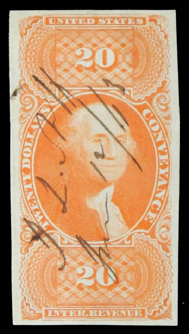 Costs of US Stamps Scott Catalog # R98 - US$20.00 1862 Revenue Conveyance. Daniel Kelleher Auctions, May 2014, Sale 652, Lot 971