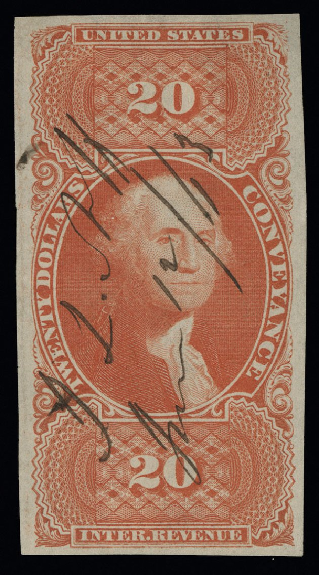 Prices of US Stamps Scott # R98 - US$20.00 1862 Revenue Conveyance. Spink Shreves Galleries, Aug 2013, Sale 144, Lot 435