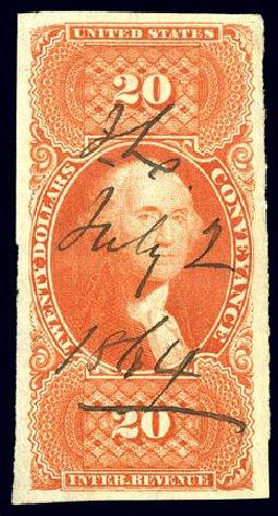 Value of US Stamps Scott Catalogue #R98 - US$20.00 1862 Revenue Conveyance. Matthew Bennett International, Dec 2008, Sale 330, Lot 2002