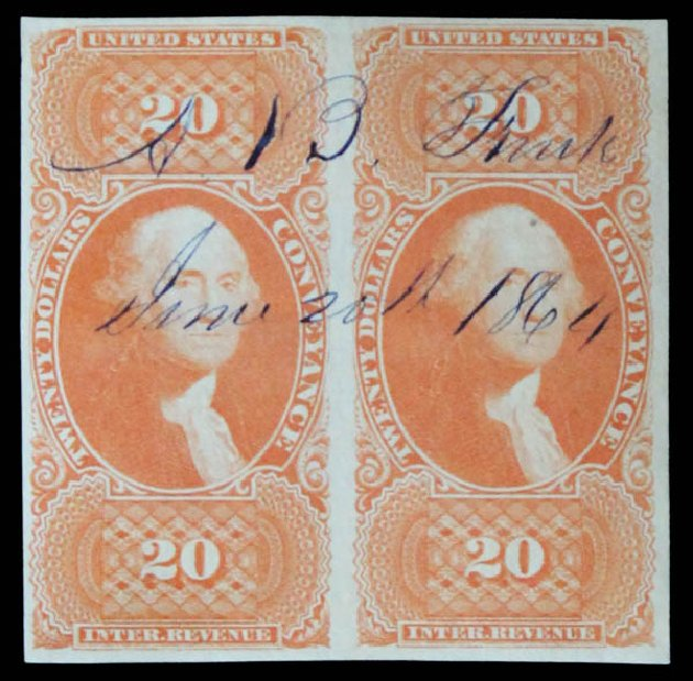 Cost of US Stamps Scott Catalog # R98: 1862 US$20.00 Revenue Conveyance. Daniel Kelleher Auctions, May 2014, Sale 652, Lot 972