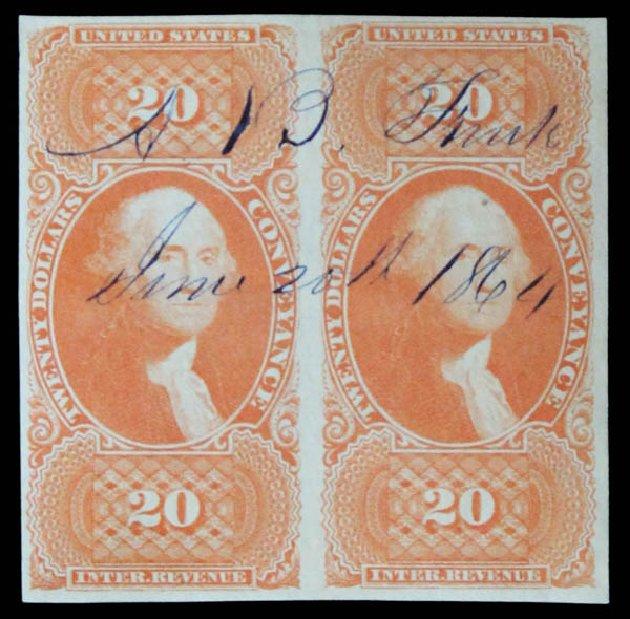 Cost of US Stamps Scott Catalog # R98: 1862 US$20.00 Revenue Conveyance. Daniel Kelleher Auctions, May 2014, Sale 652, Lot 972