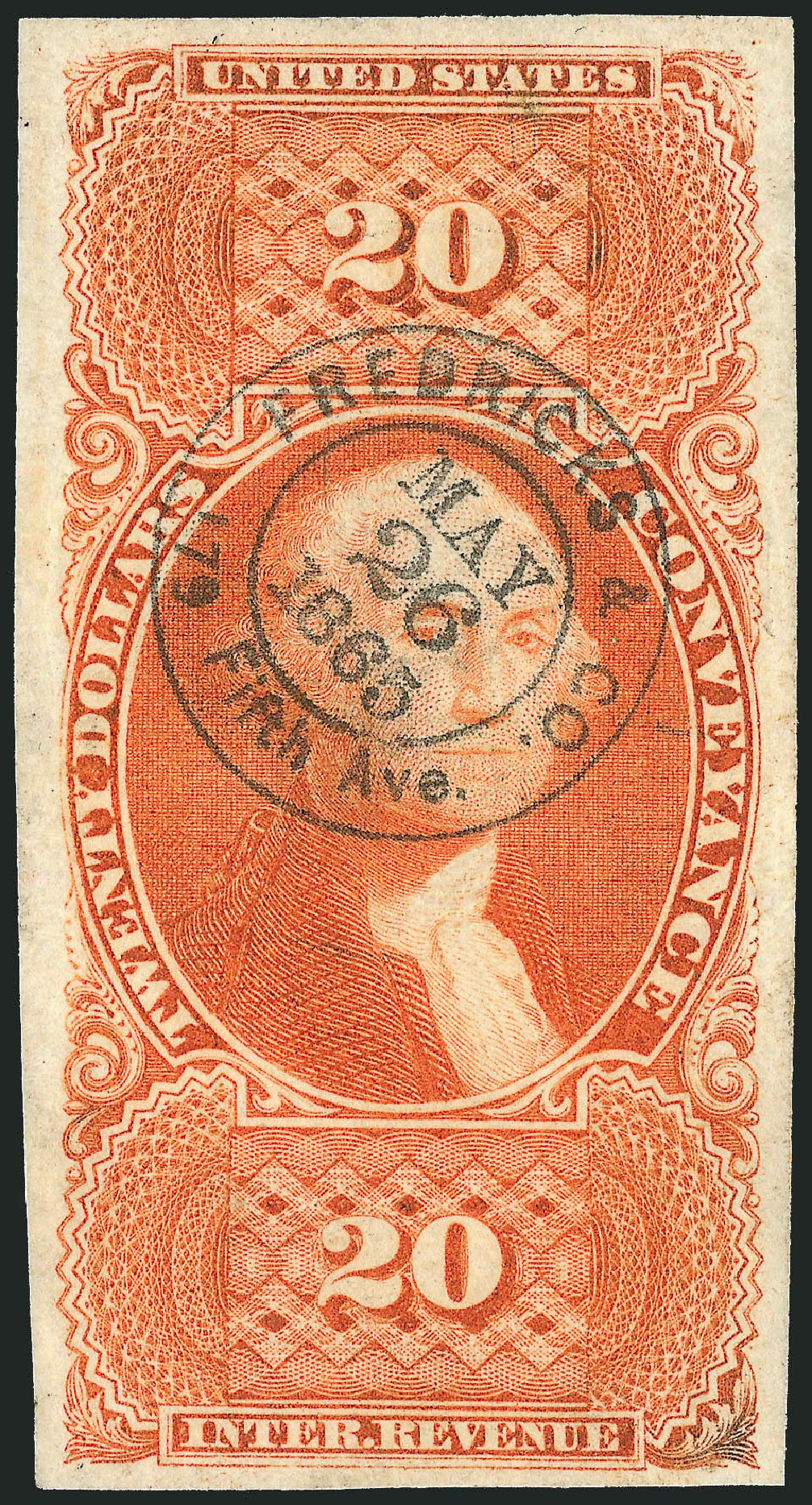 Values of US Stamp Scott Cat. #R98: 1862 US$20.00 Revenue Conveyance. Robert Siegel Auction Galleries, Dec 2009, Sale 978, Lot 1172