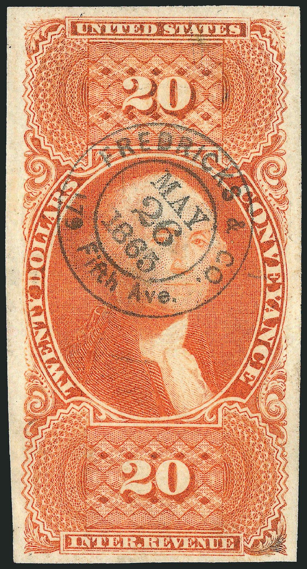 Values of US Stamp Scott Cat. #R98: 1862 US$20.00 Revenue Conveyance. Robert Siegel Auction Galleries, Dec 2009, Sale 978, Lot 1172