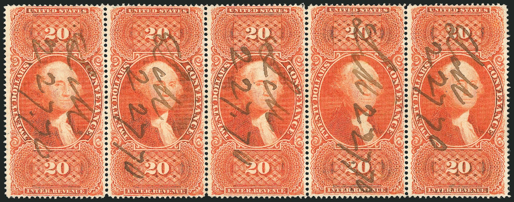Costs of US Stamps Scott Catalogue #R98: US$20.00 1862 Revenue Conveyance. Robert Siegel Auction Galleries, Dec 2014, Sale 1089, Lot 463
