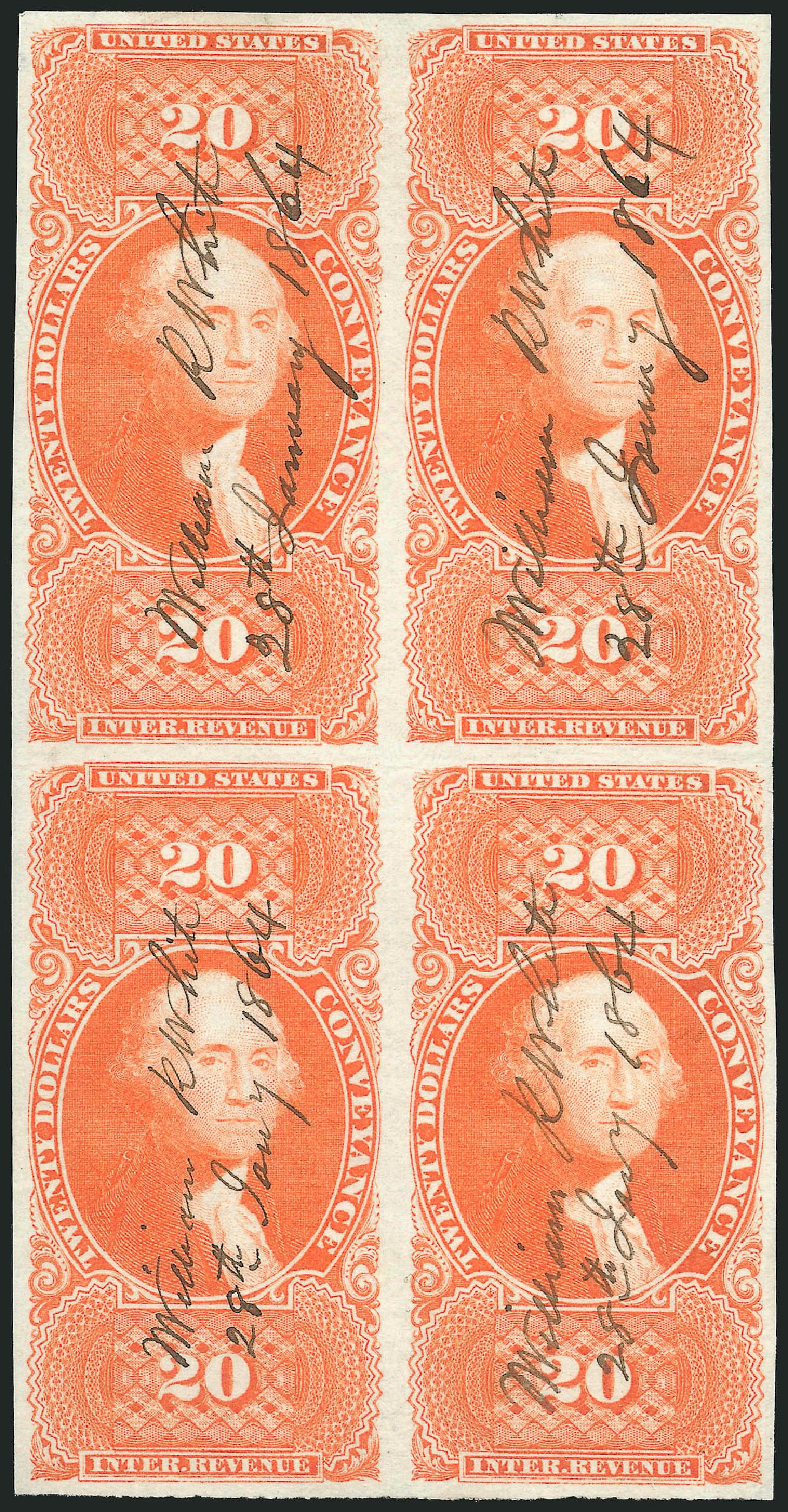 US Stamps Value Scott R98: 1862 US$20.00 Revenue Conveyance. Robert Siegel Auction Galleries, Jun 2015, Sale 1100, Lot 166