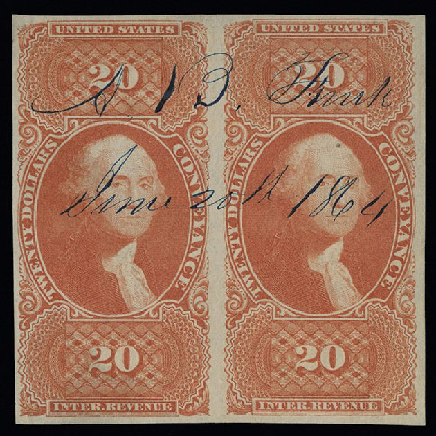 Prices of US Stamp Scott R98 - US$20.00 1862 Revenue Conveyance. Spink Shreves Galleries, Aug 2013, Sale 144, Lot 436
