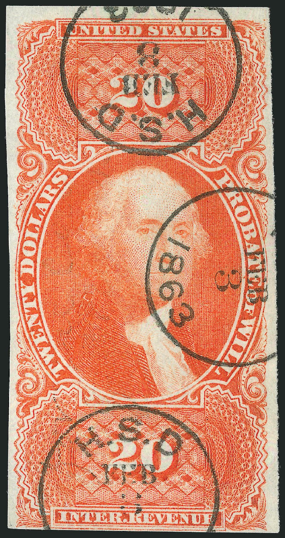 US Stamps Prices Scott Catalogue R99: 1862 US$20.00 Revenue Probate of Will. Robert Siegel Auction Galleries, Jun 2015, Sale 1100, Lot 167