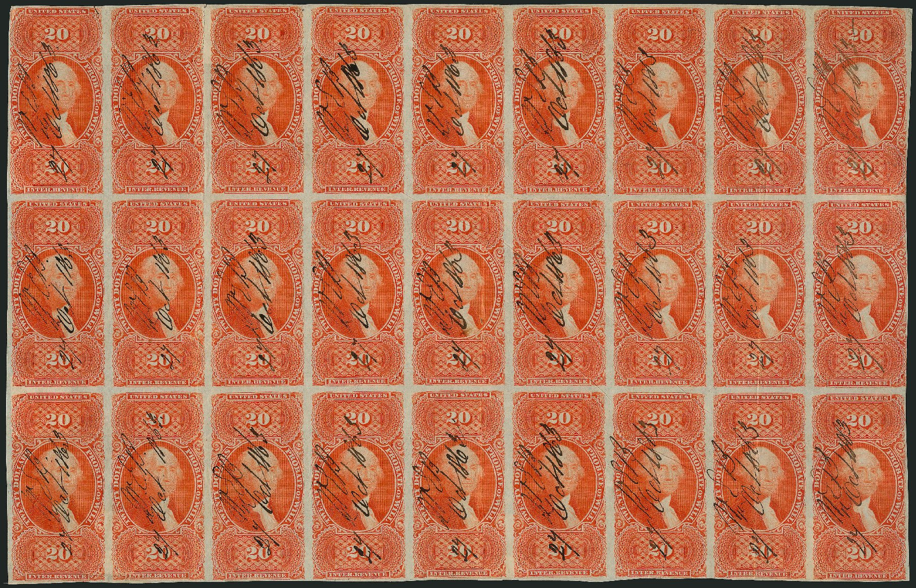 US Stamps Values Scott Catalog # R99: 1862 US$20.00 Revenue Probate of Will. Robert Siegel Auction Galleries, Jun 2015, Sale 1100, Lot 168