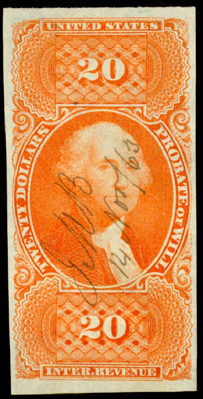US Stamps Values Scott Catalogue #R99: US$20.00 1862 Revenue Probate of Will. Daniel Kelleher Auctions, Jun 2015, Sale 670, Lot 29