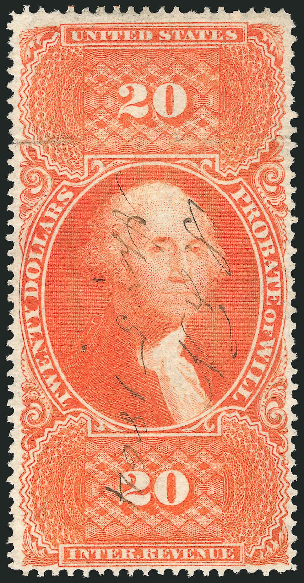 Cost of US Stamps Scott Catalogue R99 - 1862 US$20.00 Revenue Probate of Will. Robert Siegel Auction Galleries, Jun 2015, Sale 1100, Lot 169