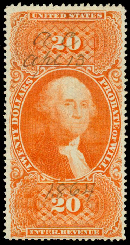 Values of US Stamps Scott Catalog R99: 1862 US$20.00 Revenue Probate of Will. Daniel Kelleher Auctions, May 2015, Sale 665, Lot 150