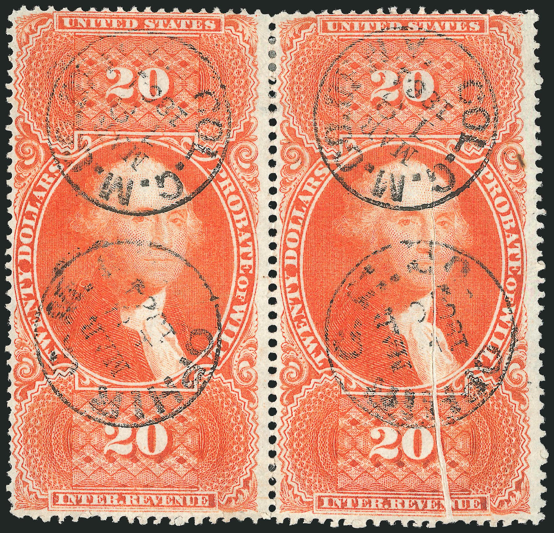 Prices of US Stamp Scott Catalog # R99: 1862 US$20.00 Revenue Probate of Will. Robert Siegel Auction Galleries, Jun 2015, Sale 1100, Lot 170