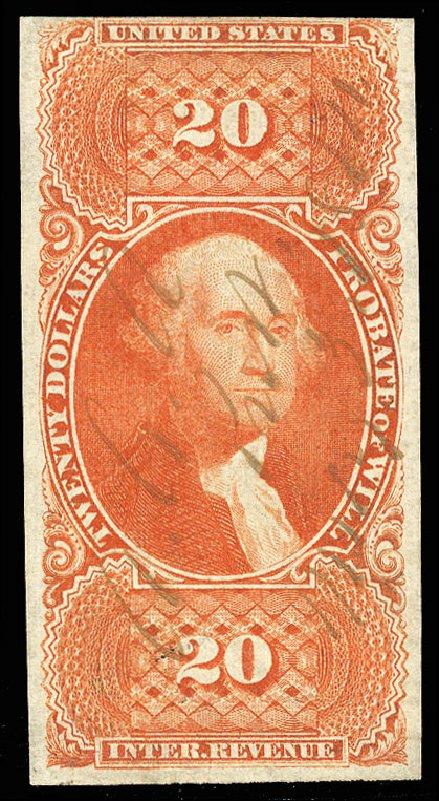 US Stamps Values Scott Cat. #R99 - US$20.00 1862 Revenue Probate of Will. Cherrystone Auctions, Jul 2015, Sale 201507, Lot 111