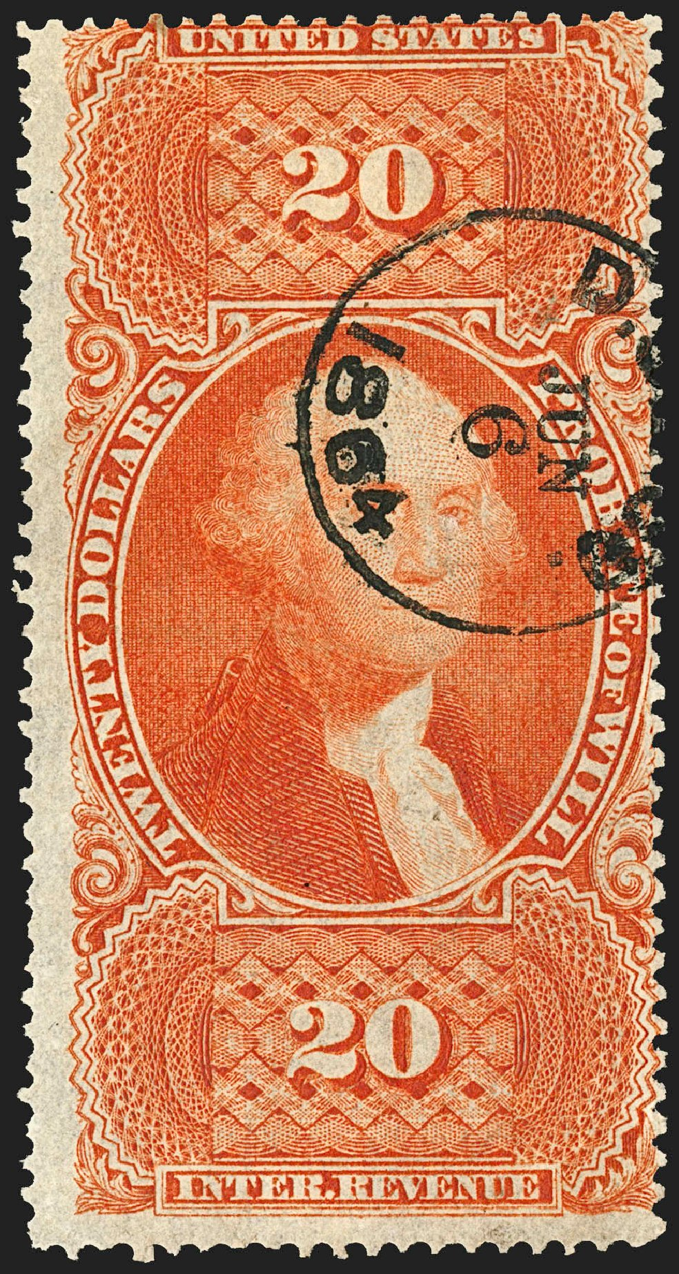 Prices of US Stamps Scott # R99 - US$20.00 1862 Revenue Probate of Will. Robert Siegel Auction Galleries, Jul 2015, Sale 1107, Lot 661