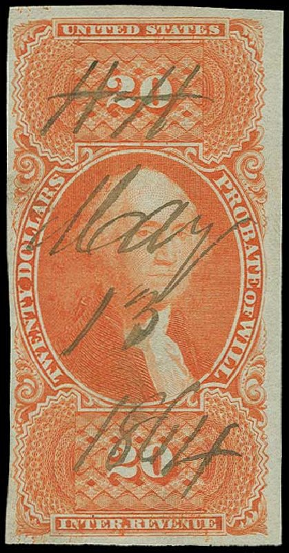 US Stamp Values Scott R99: 1862 US$20.00 Revenue Probate of Will. H.R. Harmer, Jun 2015, Sale 3007, Lot 3544