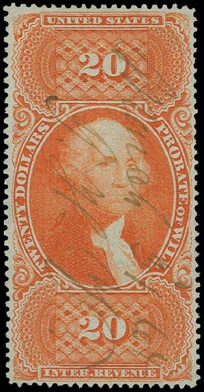 Prices of US Stamp Scott Catalog R99: US$20.00 1862 Revenue Probate of Will. H.R. Harmer, Jun 2015, Sale 3007, Lot 3545