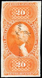 US Stamps Value Scott R99 - US$20.00 1862 Revenue Probate of Will. Schuyler J. Rumsey Philatelic Auctions, Apr 2015, Sale 60, Lot 2695