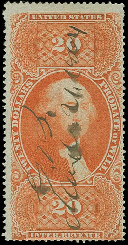 Costs of US Stamps Scott Catalogue #R99 - 1862 US$20.00 Revenue Probate of Will. H.R. Harmer, Jun 2015, Sale 3007, Lot 3546