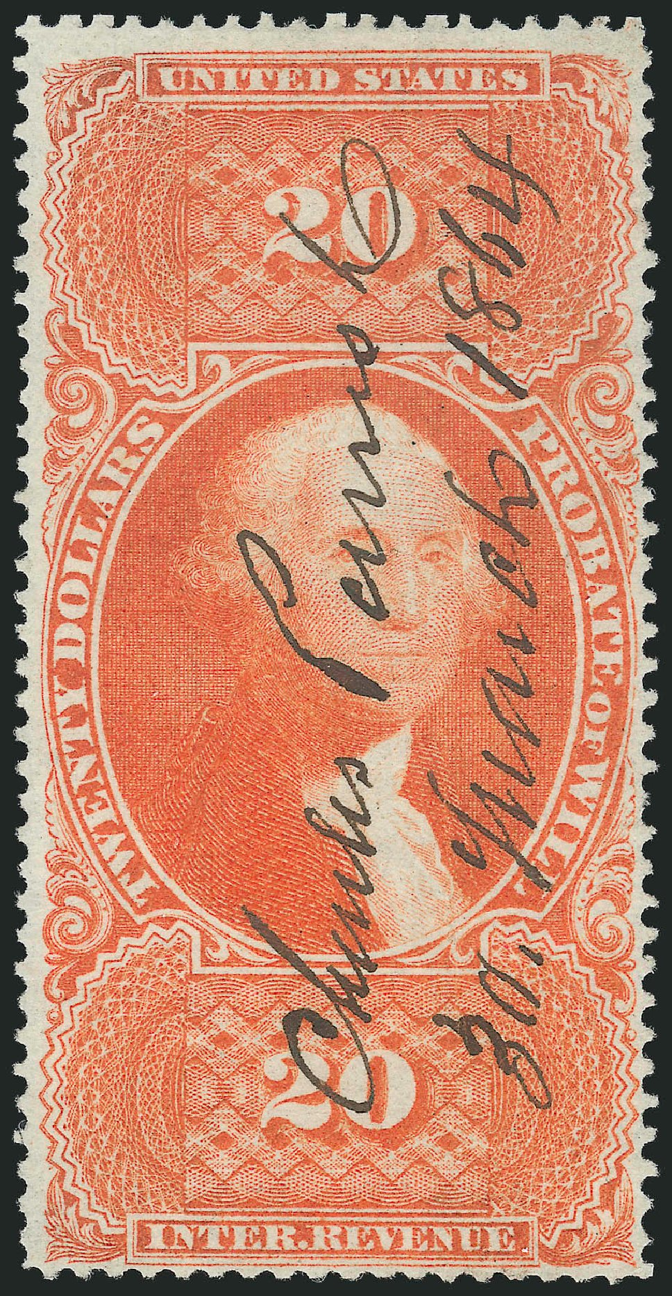 Costs of US Stamps Scott Catalogue R99 - 1862 US$20.00 Revenue Probate of Will. Robert Siegel Auction Galleries, Feb 2015, Sale 1092, Lot 1506
