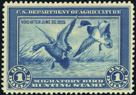 Values of US Stamp Scott Catalogue RW1 - 1934 US$1.00 Federal Duck Hunting. Harmer-Schau Auction Galleries, Oct 2012, Sale 95, Lot 307