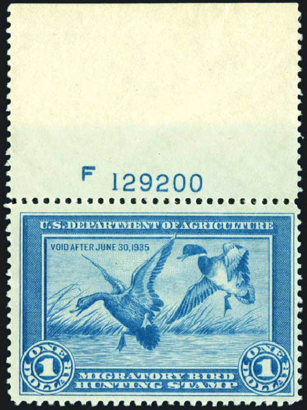 US Stamps Price Scott #RW1: 1934 US$1.00 Federal Duck Hunting. Harmer-Schau Auction Galleries, Oct 2013, Sale 99, Lot 307