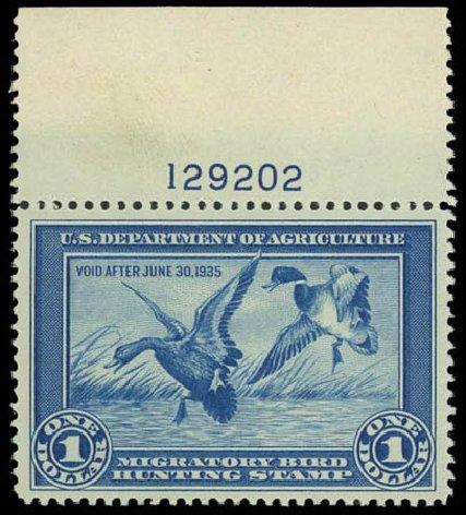 Cost of US Stamps Scott Catalog #RW1 - 1934 US$1.00 Federal Duck Hunting. Daniel Kelleher Auctions, Jul 2011, Sale 625, Lot 1317