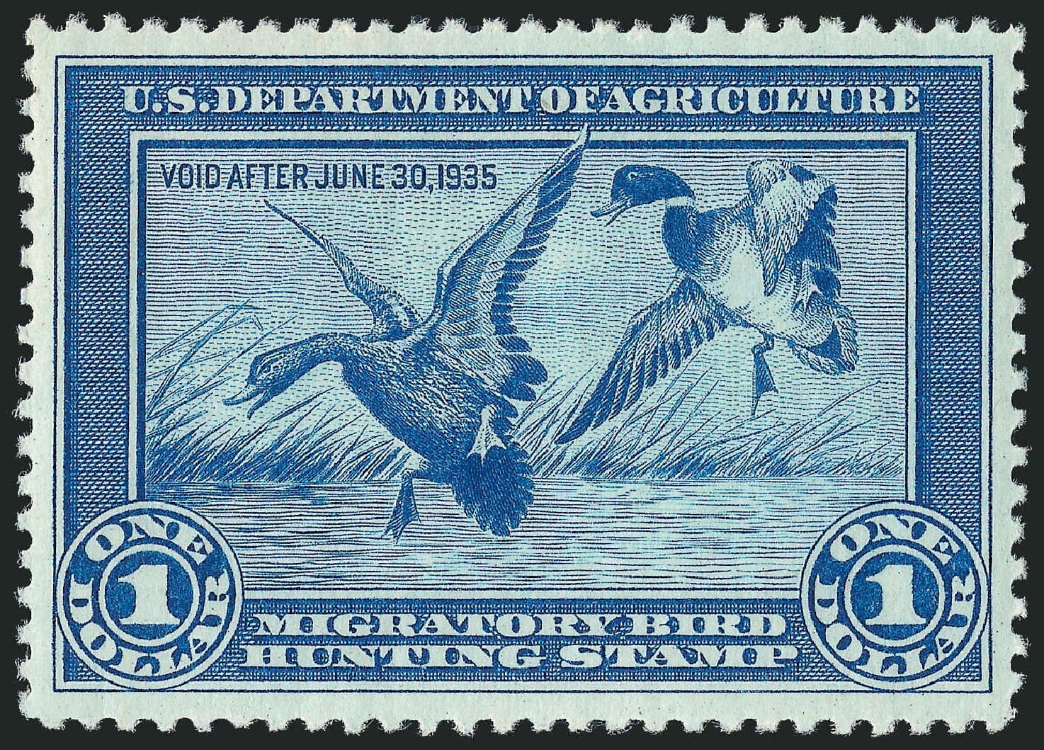 Values of US Stamp Scott RW1: 1934 US$1.00 Federal Duck Hunting. Robert Siegel Auction Galleries, Mar 2011, Sale 1007, Lot 3157