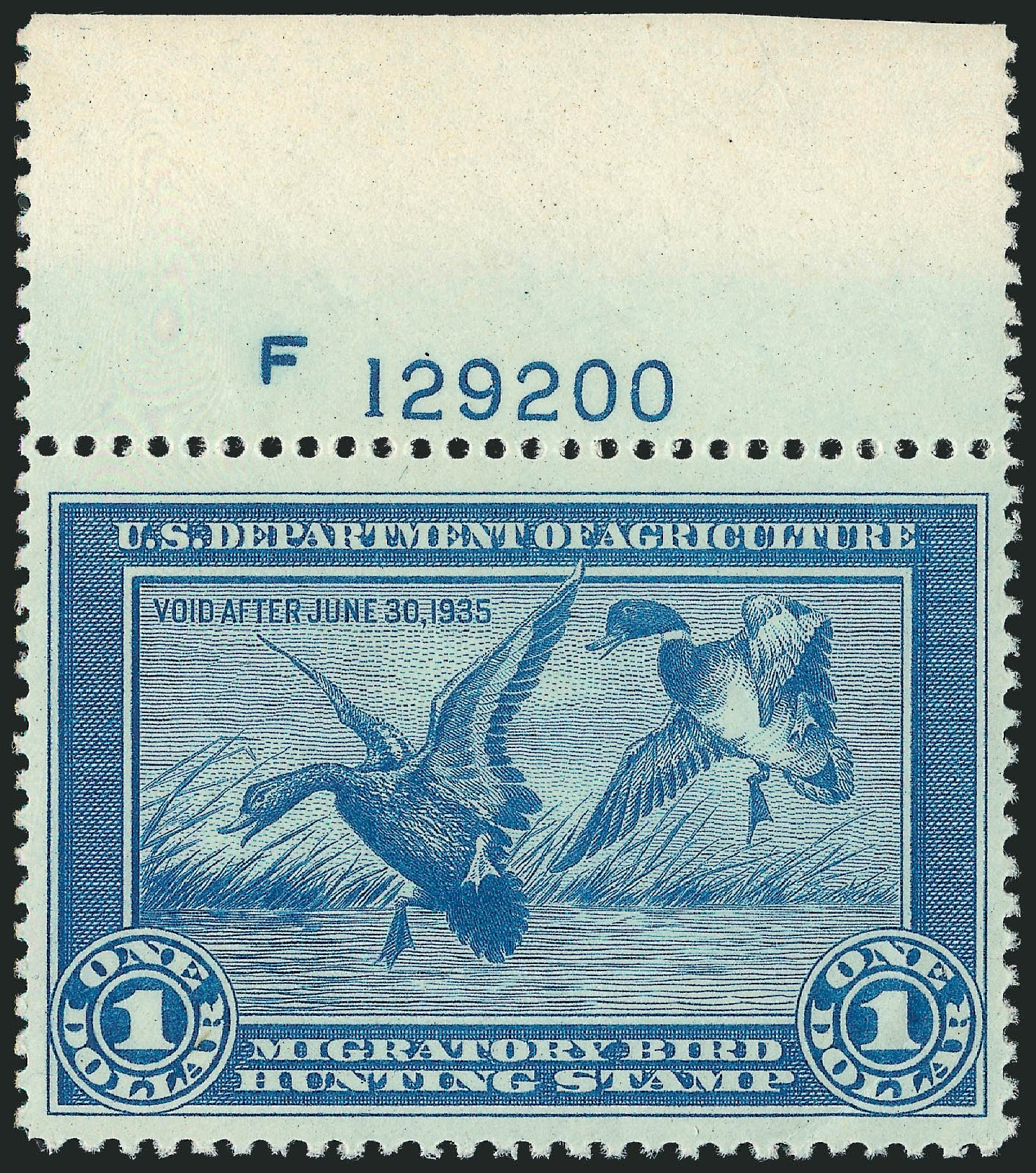 US Stamps Values Scott Catalogue RW1: 1934 US$1.00 Federal Duck Hunting. Robert Siegel Auction Galleries, Nov 2013, Sale 1061, Lot 4507