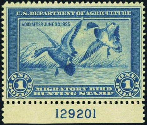 Value of US Stamp Scott Cat. #RW1 - US$1.00 1934 Federal Duck Hunting. Harmer-Schau Auction Galleries, Aug 2012, Sale 94, Lot 1988
