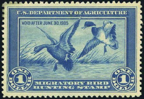 Value of US Stamps Scott Catalog RW1 - 1934 US$1.00 Federal Duck Hunting. Harmer-Schau Auction Galleries, Oct 2012, Sale 95, Lot 308