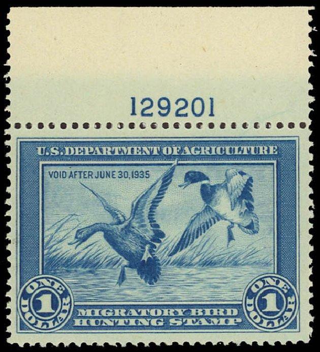 US Stamps Values Scott Cat. RW1: 1934 US$1.00 Federal Duck Hunting. Daniel Kelleher Auctions, Jun 2012, Sale 630, Lot 2148