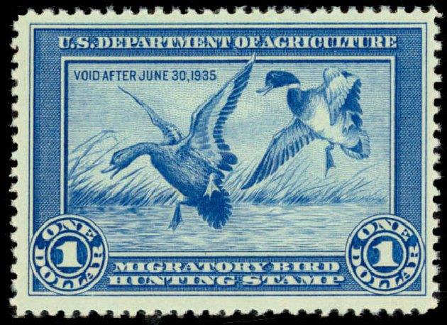 Costs of US Stamp Scott Cat. # RW1 - 1934 US$1.00 Federal Duck Hunting. Daniel Kelleher Auctions, Sep 2013, Sale 639, Lot 1218