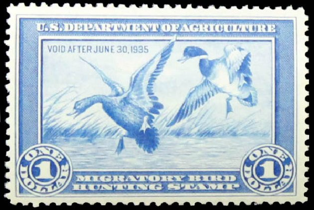 US Stamp Values Scott Catalog #RW1 - US$1.00 1934 Federal Duck Hunting. Daniel Kelleher Auctions, May 2014, Sale 652, Lot 998