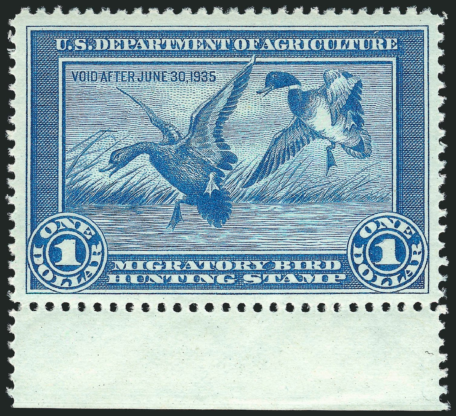 US Stamps Price Scott Catalog # RW1 - 1934 US$1.00 Federal Duck Hunting. Robert Siegel Auction Galleries, Mar 2013, Sale 1040, Lot 2238