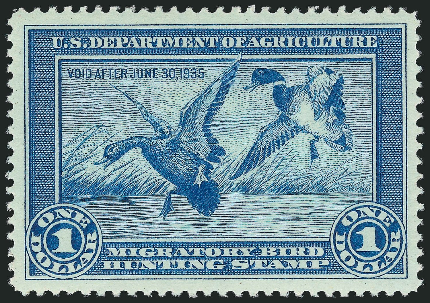 Value of US Stamp Scott Catalogue #RW1: 1934 US$1.00 Federal Duck Hunting. Robert Siegel Auction Galleries, Nov 2013, Sale 1061, Lot 4508
