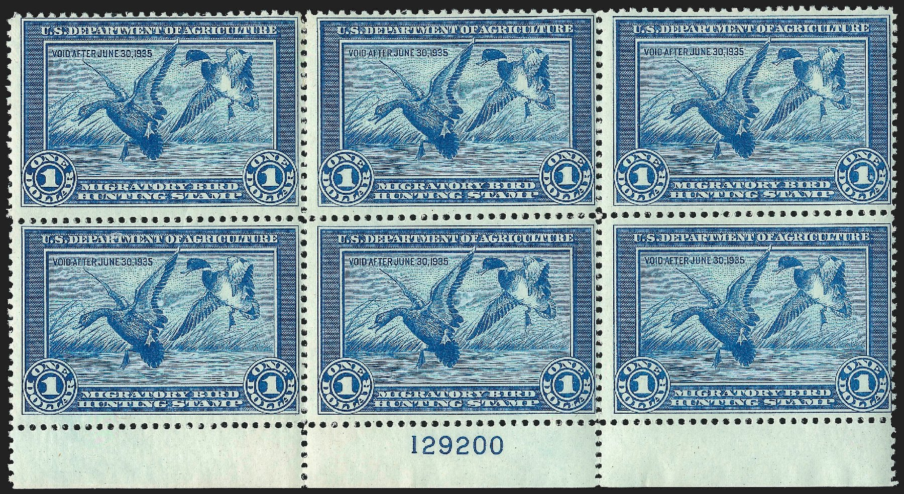 Cost of US Stamp Scott Catalogue #RW1: US$1.00 1934 Federal Duck Hunting. Robert Siegel Auction Galleries, Jul 2015, Sale 1107, Lot 678