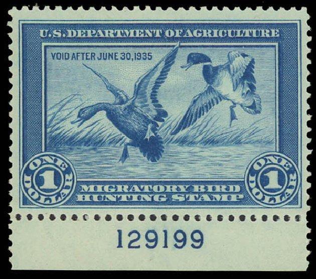 Value of US Stamps Scott # RW1 - US$1.00 1934 Federal Duck Hunting. Daniel Kelleher Auctions, Jun 2012, Sale 630, Lot 2149
