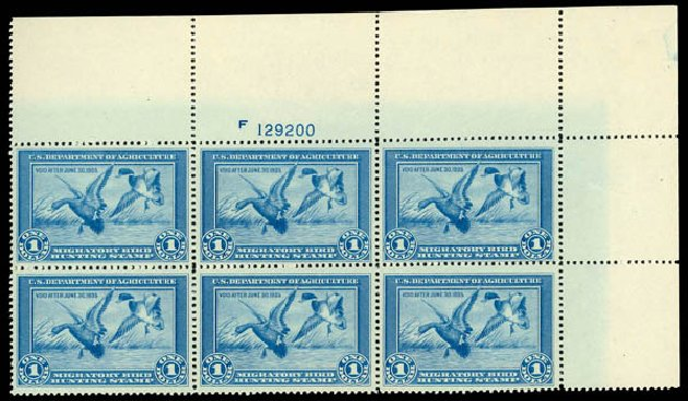 US Stamp Prices Scott Catalog RW1 - US$1.00 1934 Federal Duck Hunting. Daniel Kelleher Auctions, May 2014, Sale 653, Lot 2489