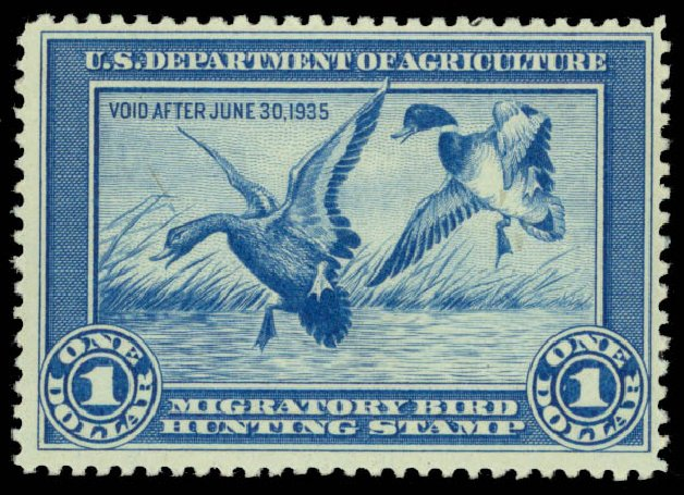 Costs of US Stamps Scott Catalogue #RW1 - US$1.00 1934 Federal Duck Hunting. Daniel Kelleher Auctions, May 2015, Sale 669, Lot 3569