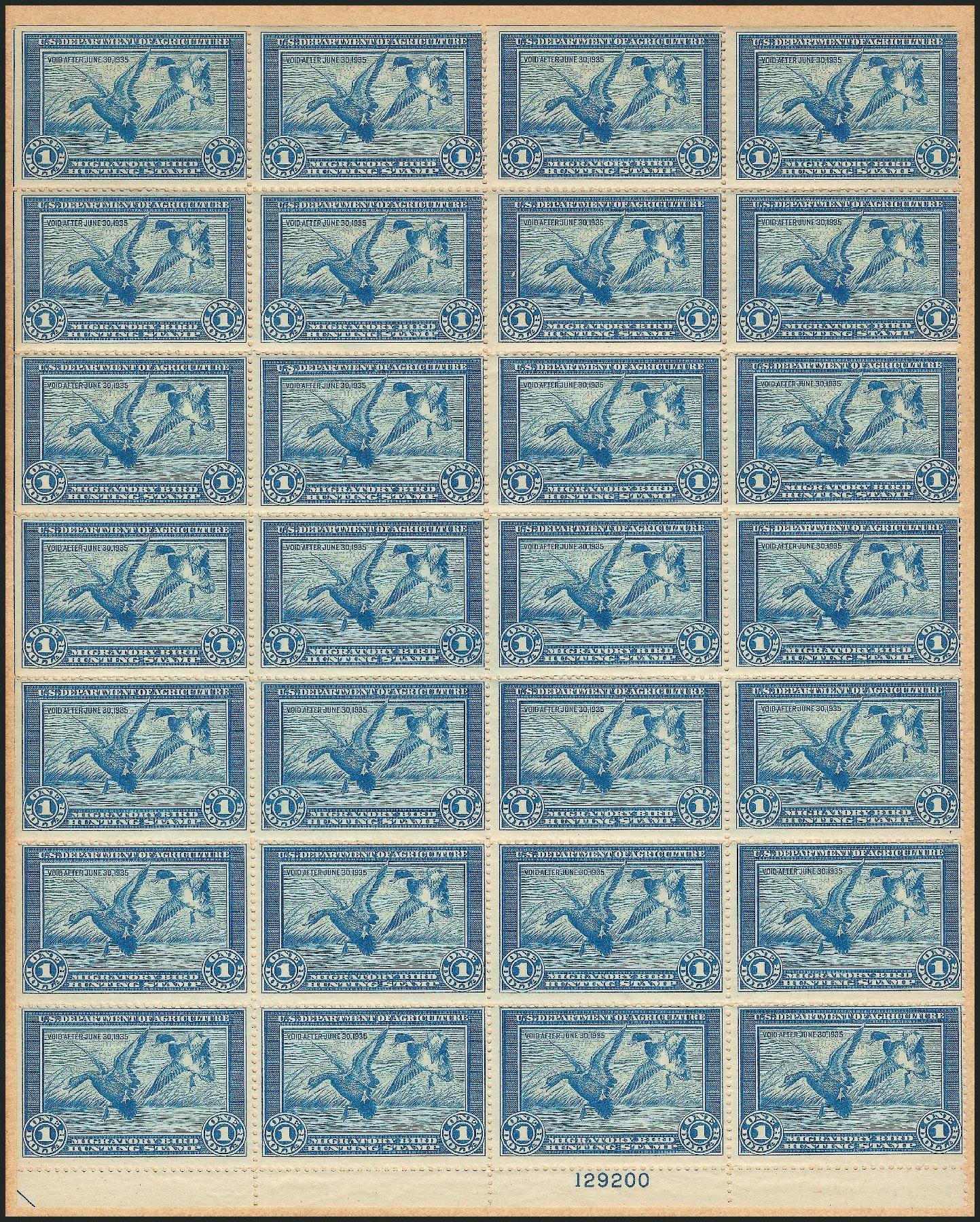 US Stamp Prices Scott Cat. # RW1: US$1.00 1934 Federal Duck Hunting. Robert Siegel Auction Galleries, Mar 2012, Sale 1021, Lot 540