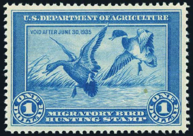 Price of US Stamps Scott Catalogue #RW1: US$1.00 1934 Federal Duck Hunting. Harmer-Schau Auction Galleries, Nov 2014, Sale 103, Lot 181